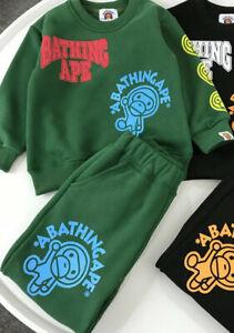 1 Set Kids Boy Girl Animal Plus Velvet Winter Sweatershirt Hoodies+ Long Pants