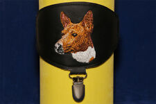 Basenji arm band ring number holder with clip. For dog shows. Dog lover gift