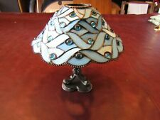 PartyLite Spring Water Candle Lamp Blue Tiffany Style Stained Glass Euc!