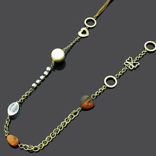 Ladies Cord & Antique Gold Tone Fashion Necklace Gold Clear & Brown Bead Details