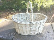 Vintage Shabby Chic Chippy White Wicker Garden Gathering Farmhouse Basket Large