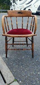 Antique Victorian Oak Smokers Captains Burgundy Bow Chair Retro Vintage