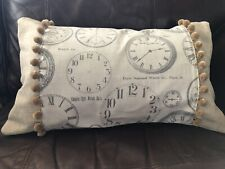 "20"" X 12"" 'Clocks And Bobbles' Rectangular Cushion Cover In Cotton Canvas"