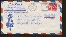 1961 Honolulu Hawaii to Marquette Michigan Air Mail Postal Cover