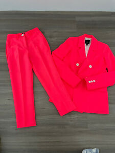 River Island Neon Coral / Pink Two Piece White Button Suit Size 6