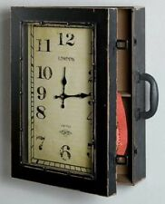 Rustikale Wanduhr mit Schrank, 37x49x5 cm Antik Vintage Geschenkidee Dekoidee