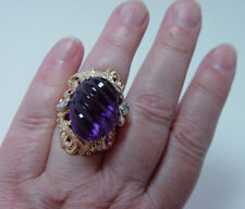 Vintage 14K Gold Diamond Carved Amethyst Ring Estate Heavy Giant 18ct