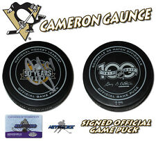 CAMERON GAUNCE Signed PITTSBURGH PENGUINS 2017 CUP GAME PUCK - w/COA