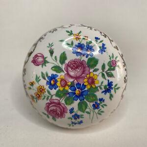 Antique Porcelain Ceramic Door Knob Floral Bouquet Roses Blue Flowers Gold Trim