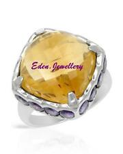 $410 FPJ Breathtaking Ring HUGE 16.61ctw CITRINE & AMETHYST 925 Sterling Silver