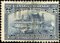 Used Canada 1908 5c F Scott #99 Quebec Tercentenary Issue Stamp