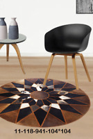 New 100% Cowhide Leather Round Rug Cow Skin Patchwork Area Carpet 11118