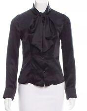 Tara Jarmon Black Neck Tie Blouse