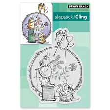 PENNY BLACK RUBBER STAMPS SLAPSTICK CLING STITCH IN TIME NEW cling STAMP SET
