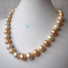 """20"""" 12-15mm White Peach Pink Heavy Surface Freshwater Pearl Necklace"""