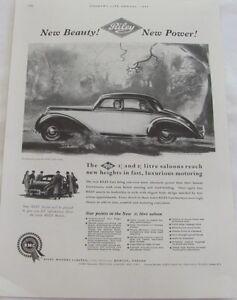 Vintage 1954 Riley Saloons Motor Car Original Advertisement, Vintage Print Ad