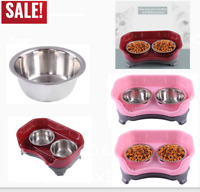 Pet Dog Puppy Cat Feeder Deluxe Mess Proof Elevated Dish With Two Stainless Bowl