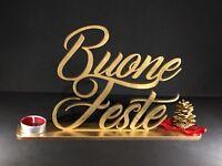 Scritta natalizia Buone Feste in legno, idea regalo Natale