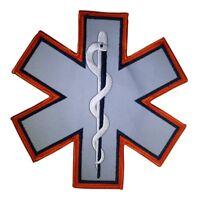 REFLECTIVE STAR OF LIFE EMT EMS FIRE 7X7 EMBLEM PATCH