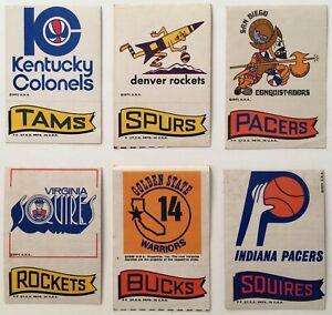 1969-1971 Topps ABA / NBA Vintage Basketball Dual Logo Team Stickers Lot of 6