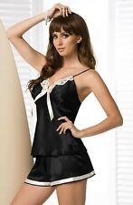 Ladies Black Satin IRALL ALEXANDRA Pjs Nightwear Set Cream Lace UK 12 xmas
