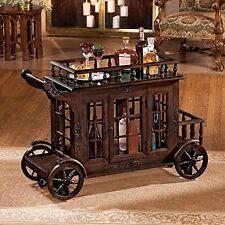 KS2067 - Cranbrook Manor Cordial Carriage - Bar Cart - Hand Carved Hardwood