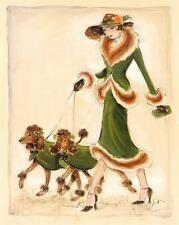 POODLE CHOCOLATE FRENCH DOG ART PRINT - FASHION GLAMOUR LADY - ART DECO style