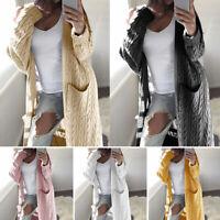 Women Open Front Knitted Cardigan Long Sleeve Sweater Casual Outwear Coat Jacket