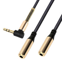 3.5mm Stereo Audio 1 Male to 2 Female Headset Headphone Aux Extension Cable Cord