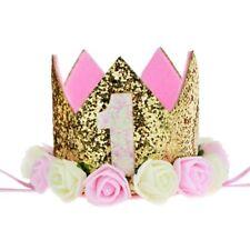 Baby 1st Birthday Crown Gold Flower Tiara Headband Party Hairband Girls Hat