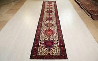 """12' 3"""" x 2' 6"""" Vintage Tribal Beige Geometric Runner Rug Handmade Hallway Carpet"""