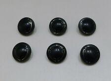 """Set 6 Vintage 40s Black Enamel Metal Buttons Gold or Silver Design Shank 5/8"""""""