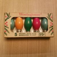 5 Vintage Westinghouse C-9 1/2 Multi-Color Outdoor Bulbs With Vintage Sleeve USA