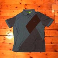 Hugo Boss Navy Blue Black Patterned Short Sleeved Polo Shirt Extra Large XL