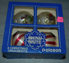 Christmas Ball Ornaments Glass Stripe Fabric Wreath Tree 4 Vintage Set 2.25 inch