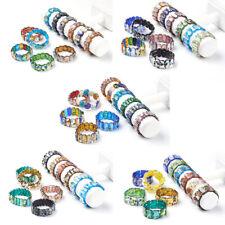 10 x Colorful Handmade Silver Foil Millefiori Lampwork Beaded Stretch Bracelets
