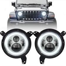 "Chrome 9"" Round LED Projection Headlight Kit White Halo DRL for Jeep Wrangler JL"