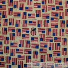BonEful Fabric Cotton Quilt Brown Red White Blue America*n Flag Country 99 SCRAP