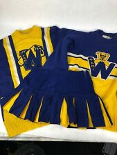 Rare VTG 1970' Cheerleading Uniform Lot 3pc Set Size S Blue Yellow Sweater Skirt