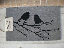 Bird On Branch -Grey - Natural Coir, PVC Backed Door Mat