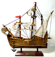 "Santa Maria 10"" x 10 Christopher Columbus Wooden Model Ship Nautical Cloth Sails"