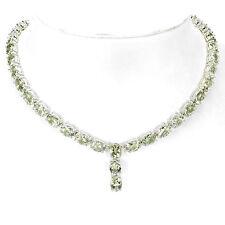 Collier grüner Amethyst Prasiolith 925 Silber 585 Weißgold