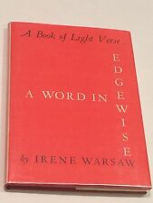 IRENE WARSAW SIGNED A Word In Edgewise 1964 BOOK