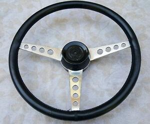 Classic 1960/70's Springalex 14inch Lotus Elan +2  Black Leather Steering Wheel