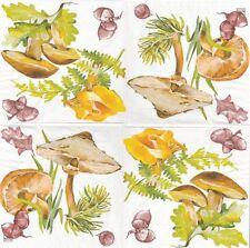 2 Serviettes en papier Automne Champignons Decoupage Paper Napkins Mushroom