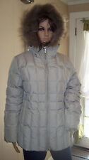 Calvin Klein Womens Puffer Size S Beige Down-Filled Raccoon Fur trim hood