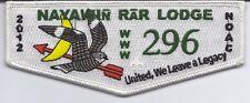 BSA: OA   Nayawin Rar # 296 -- 2012 NOAC Lodge Trader (white border)