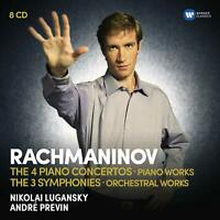 RACHMANINOV, LUGANSKY, PREVIN The 4 Piano Concertos Piano Works 8-CD set NEW