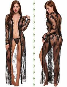 US Women Sexy Lingerie Long Lace Dress Sheer See Through Kimono Robe Nightgown