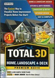 Total 3D Luxe Suite Maison, Paysage & Pont PC Cd-rom Maison Plans Renovations